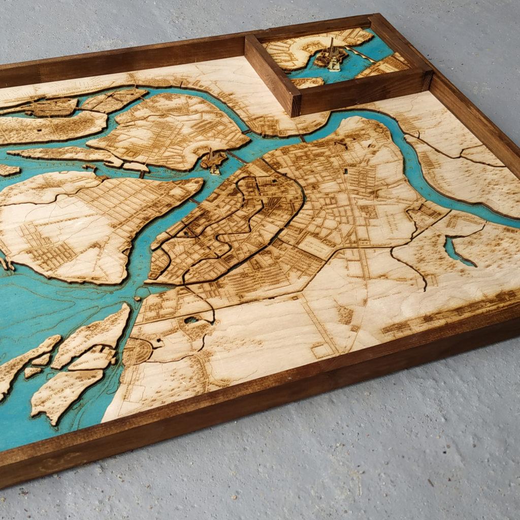 Деревянные батиметрические 3Д карты в стиле LOFT