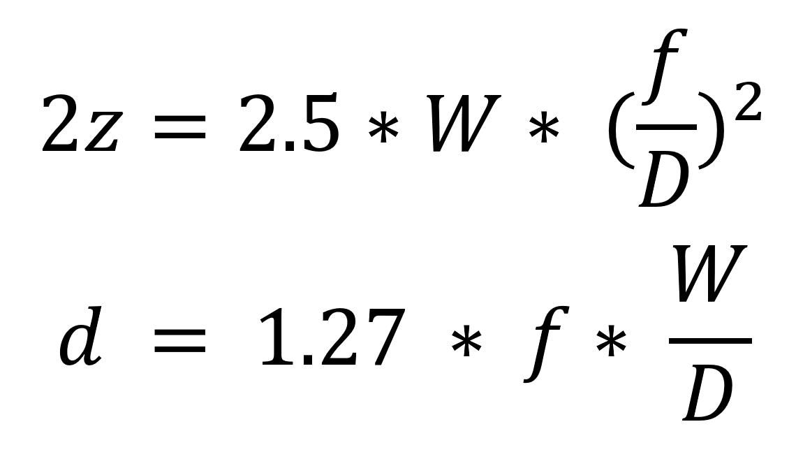 Формула расчета оптимального фокусного расстояния линзы для лазерного станка